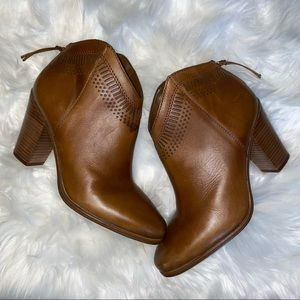 Vince Camuto Fetter Brown Leather Booties 8.5M